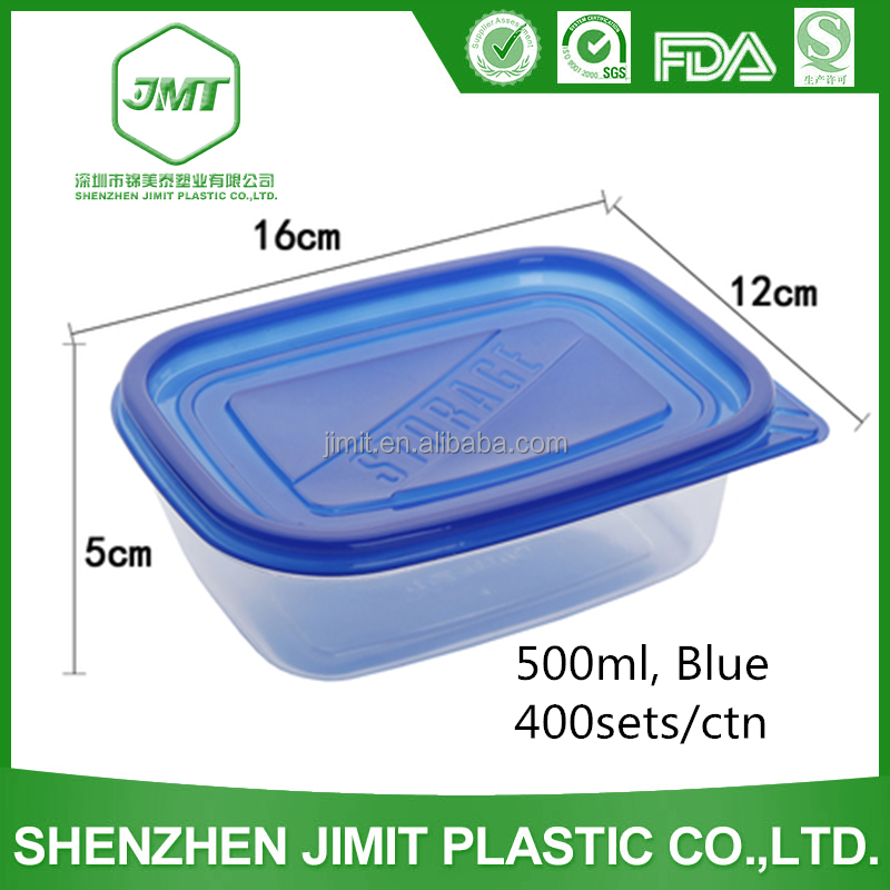 Eco-friendly Microwavable 500 ml Blue Lid Disposable Plastic Food Container