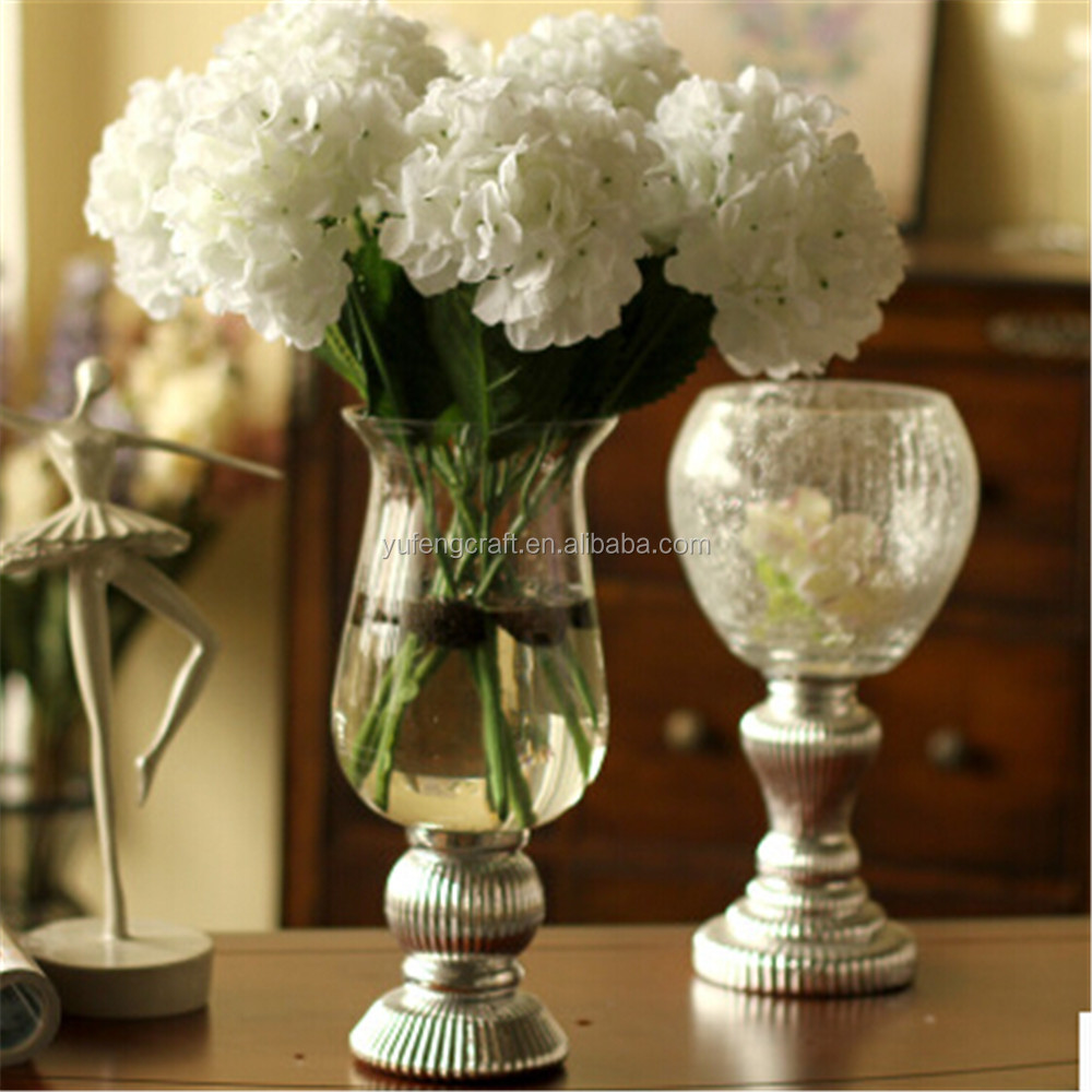 tall glass vases with metal stand for wedding centerpieces