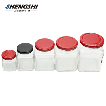 100ml 200ml Square Glass Food Storage Jar With Screw Top Lid