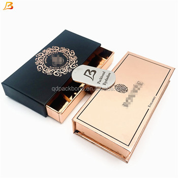 e8aef91252a Customized own brand eye lash package box With Logo Magnetic Closure  holigraphic rose golden Eyelash Packaging