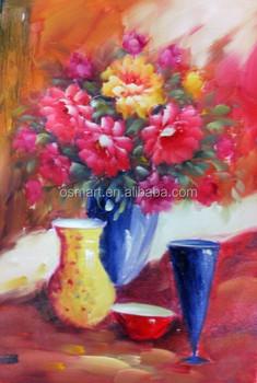Vazoda çiçek Modern Boyama El Yapımı Modern Sanat Resimleri şarap