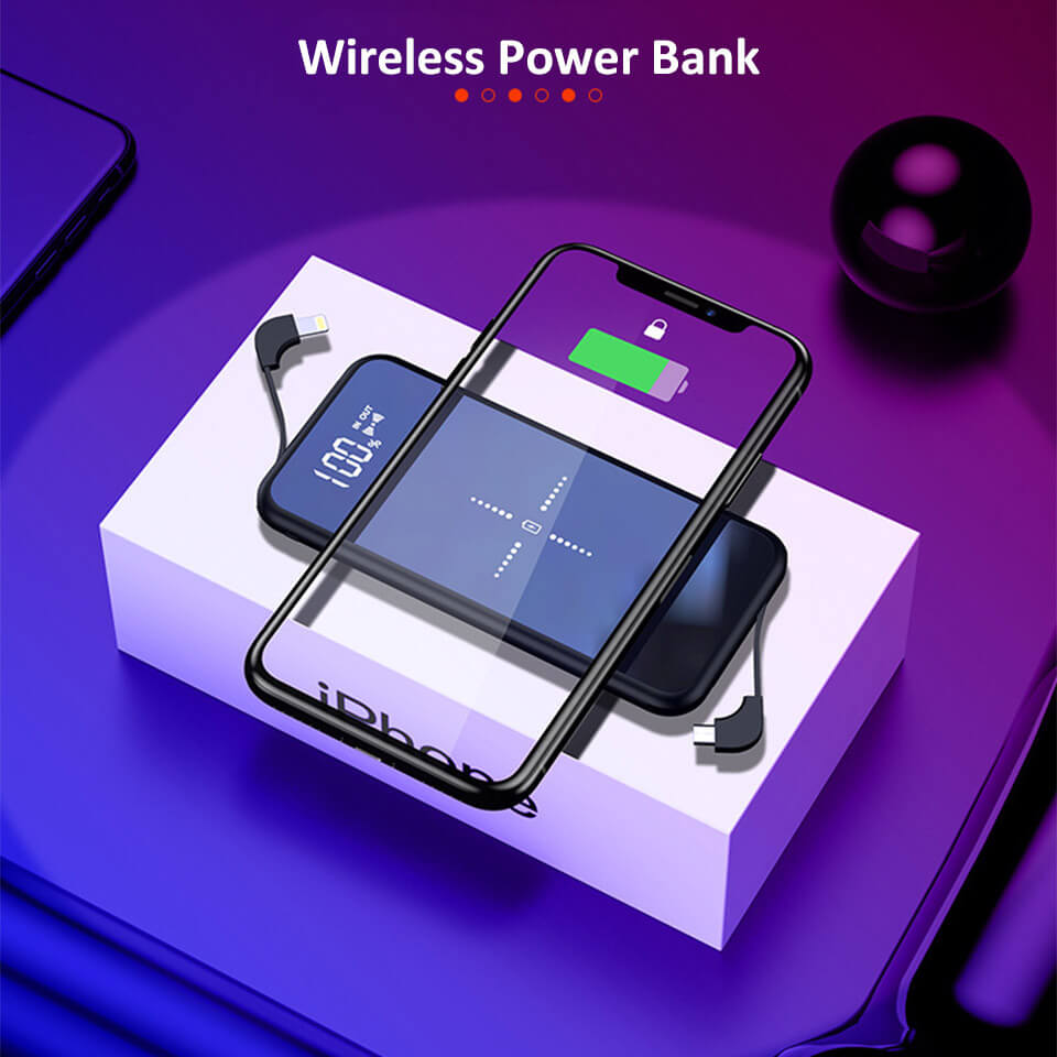 2019 New 10000Mah Power Banks Mobile Phone Portable Powerbank 10000Mah Charger Qi Wireless Power Bank