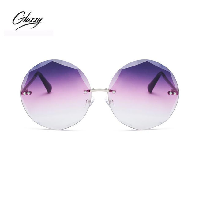 fashion Purple rimless sunglasses customized logo OEM metal temples sunglasses brands