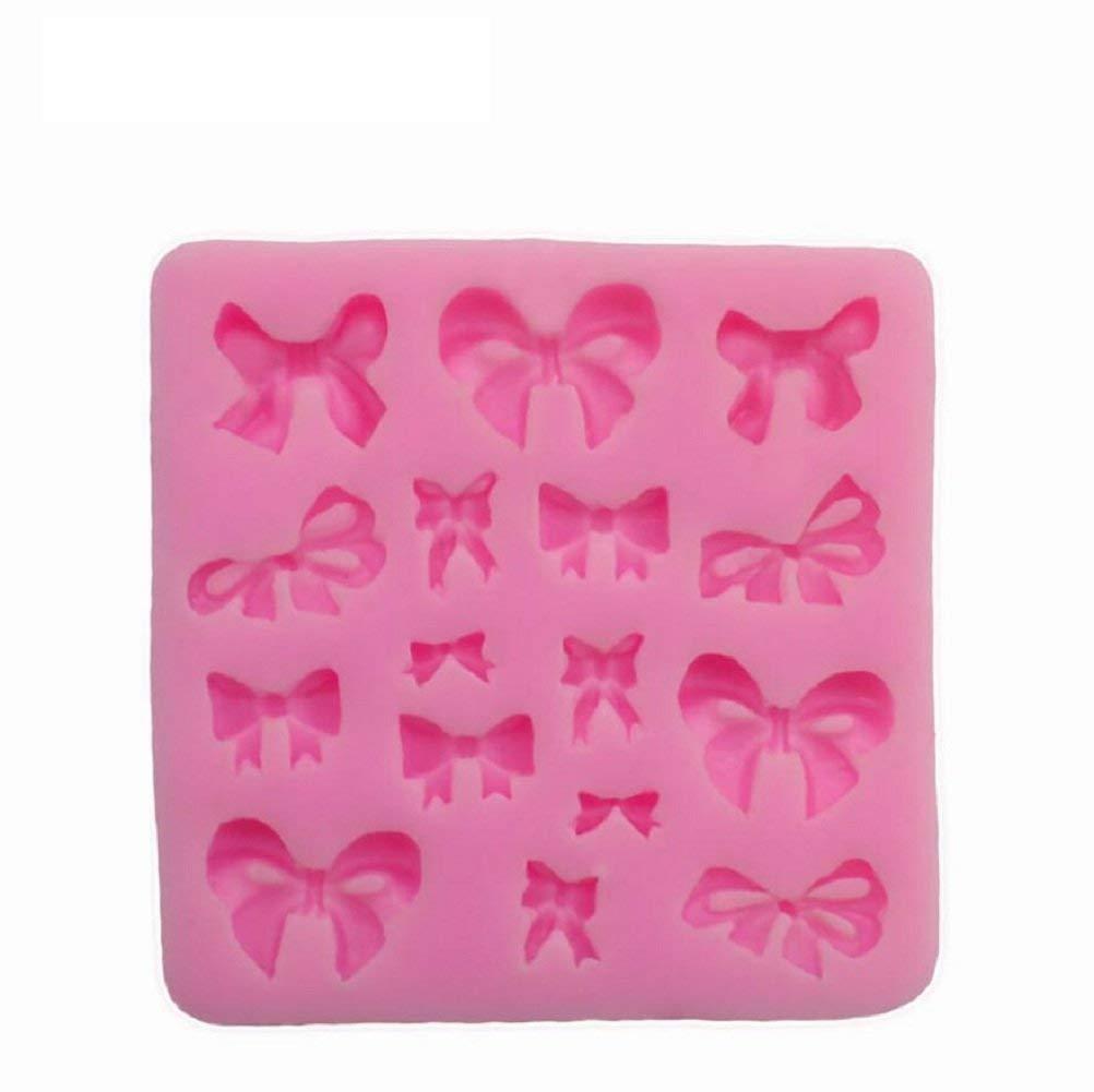 RALMALL Silicone Fondant Mould Ice Cube Chocolate Cake Cupcake Soap Molds Chocolate Baking Sugarcraft Decorating Tools(Bow-knot)