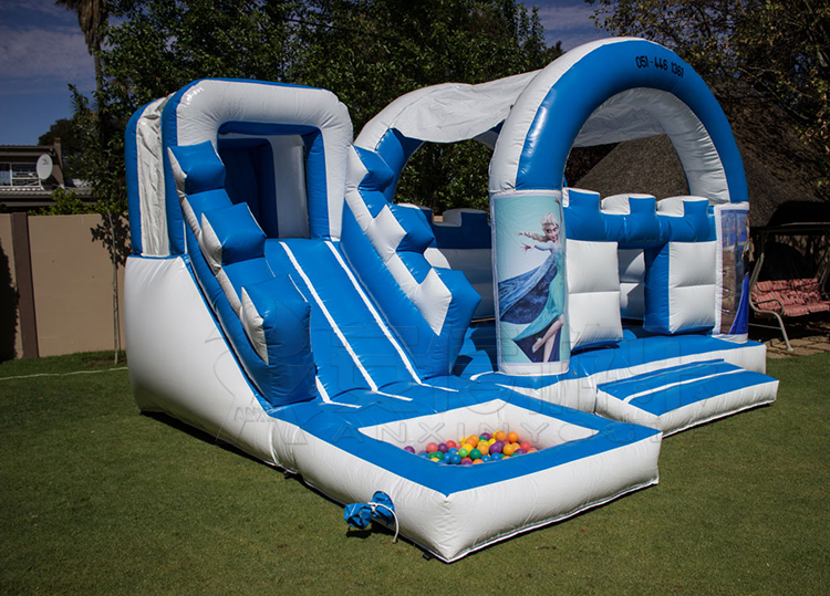 Kids frozen air jumping castle toy with cover and ball pond