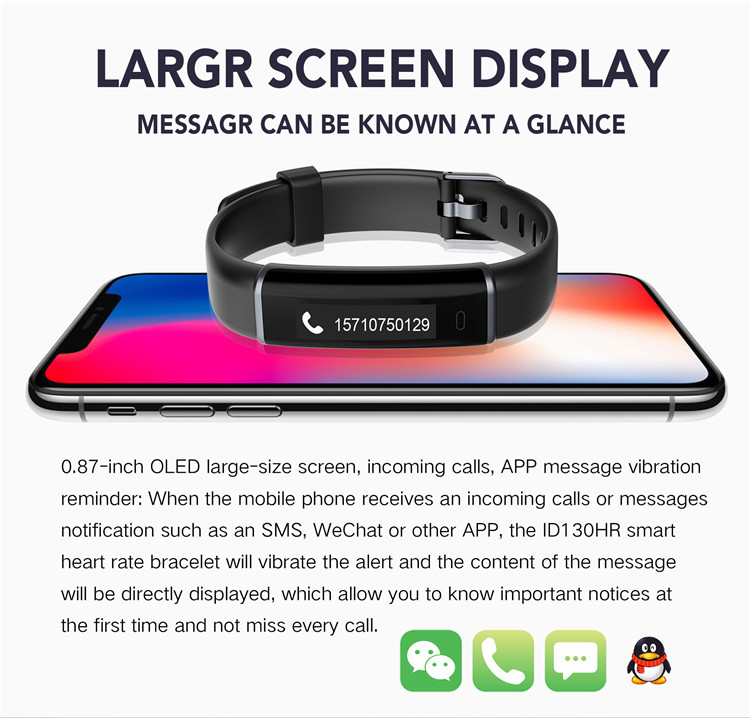 Veryfit Fitness Wristband with H7 eart rate monitor IP6Waterproof Smart Bracelet ID130HR for Sport Men