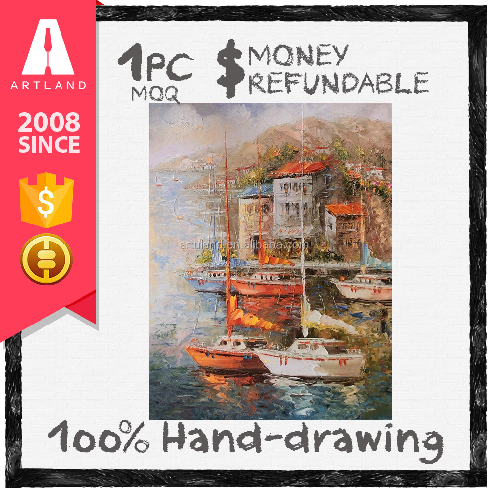 High qulity modern boat oil painting in China