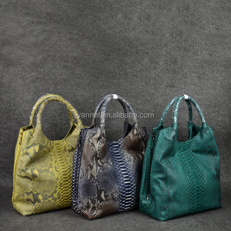 designer exotic skin handbag-luxury python leather lady handbag_fashion leather lady tote