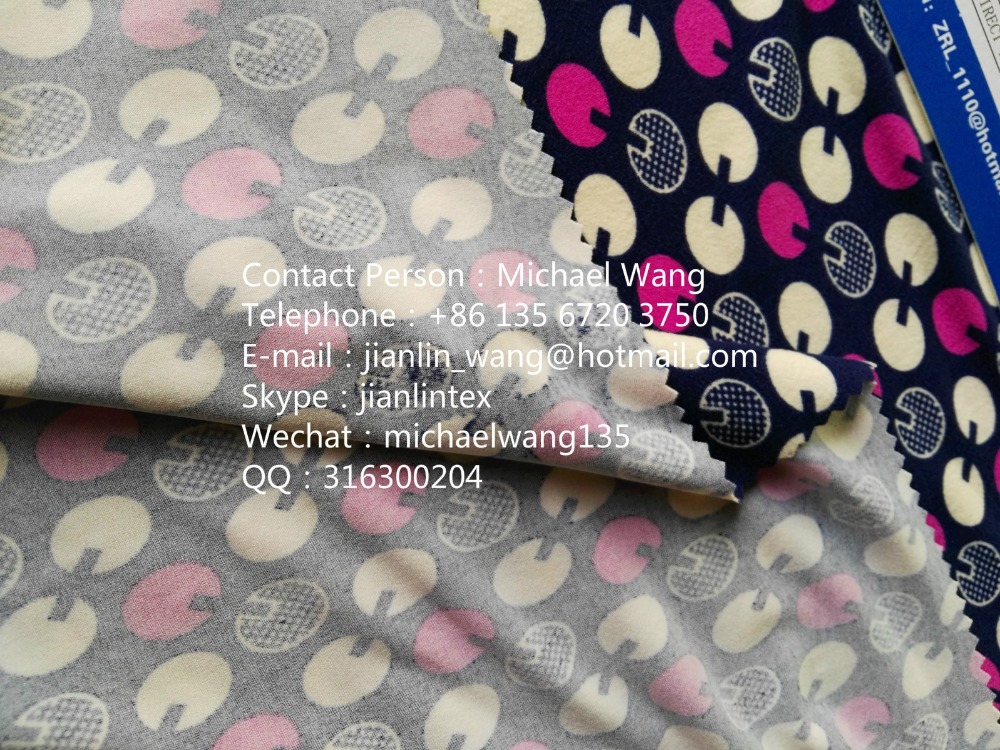95% polyester 5% spandex knitted print brushed single jersey fabric
