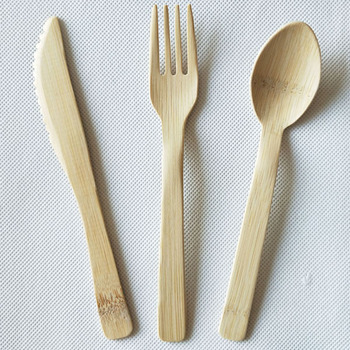 Bamboo Cutlery Set Biodegradable Bamboo Disposable Cutlery Bamboo Knife Fork Spoon