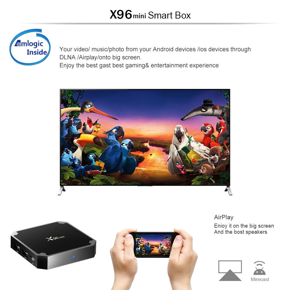 Cheapest Android 7.1 TV Box X96 Mini Amlogic S905W Quad Core 1G RAM 8G ROM ip tv box