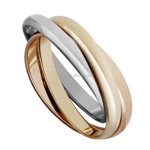 Luxury Stainless Steel Gold Russian Wedding Rings for Women & Men's Promise Jewelry