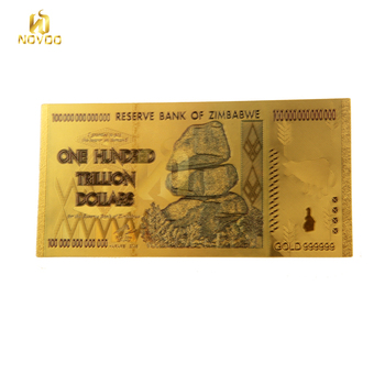 Collects Gift Colorful100 Trillion Dollar Zimbabwe 24k Gold Plated Banknote With Sleeve 100
