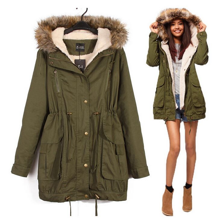 Onenweb w winter cotton women clothes Cheap Lace-up hooded women coat trench