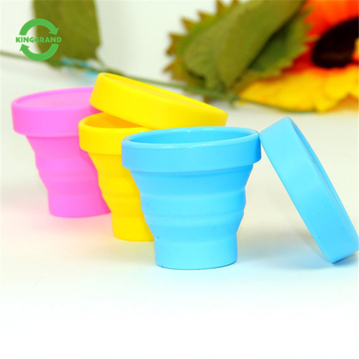 Promotion gift portable collapsible reusable silicone folding <strong>cup</strong> with lid