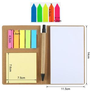 Memo Sticky Notes Flag Kraft Notebook Personalized Notepads with Pen and 2 Sets Colorful Index Tabs Flags Page Markers