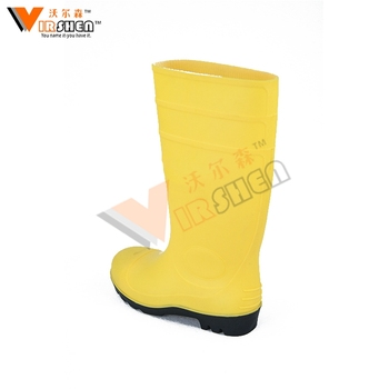 4370d6b65e3d hot selling safety pvc yellow working gumboots with steel toe and plate