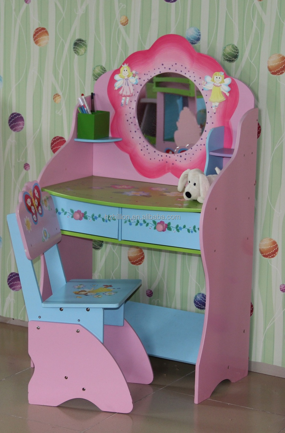 Girls Kids Childrens Wooden Nursery Bedroom Furniture Toy: Sweetheart Wooden Children Dressing Table With Stool Kids