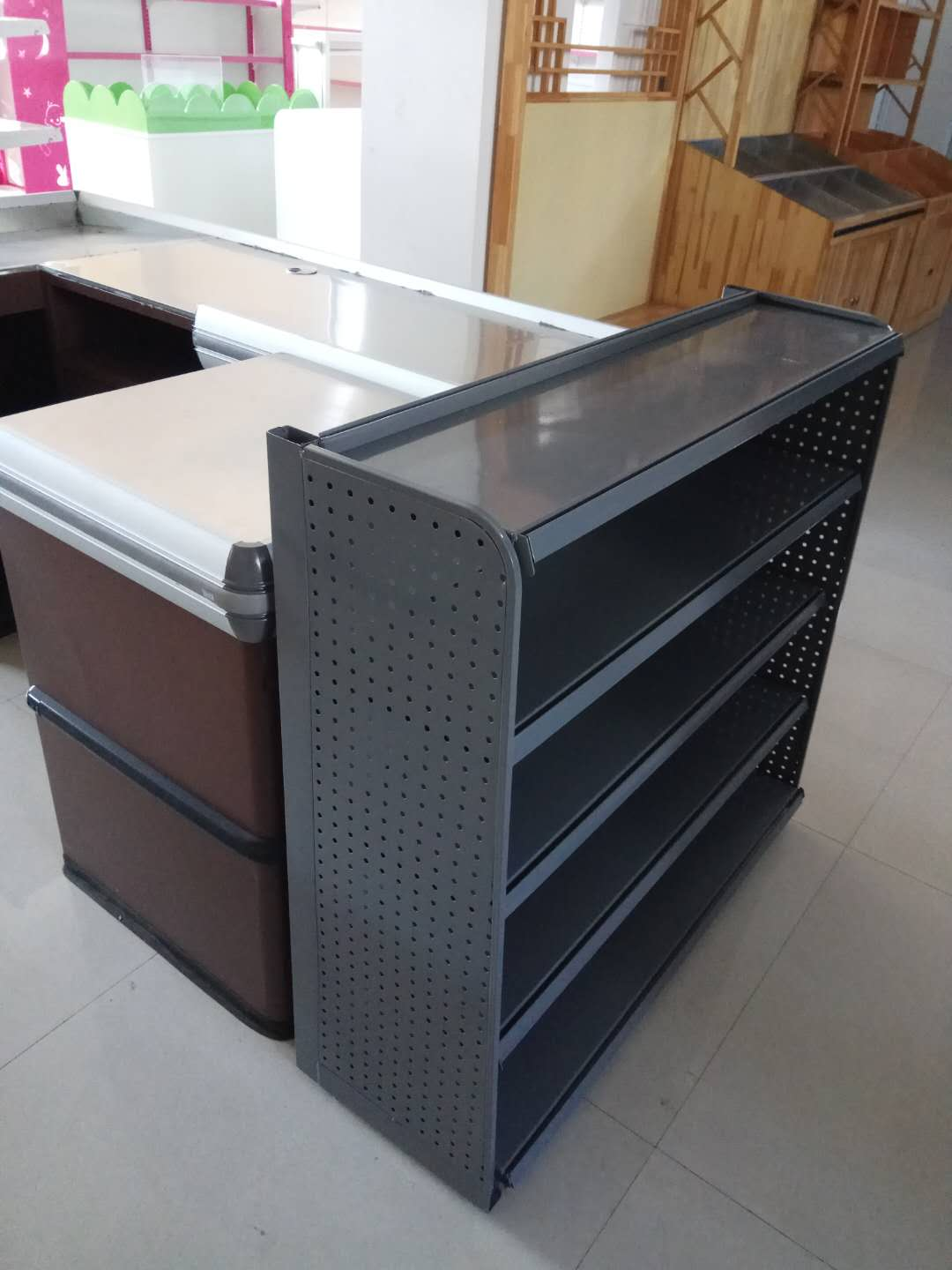 Supermarket display shelves check-out counter combination snacks shelving unit