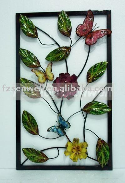 2011 Mariposa Y De La Flor De Pared De Hierro Ornamento