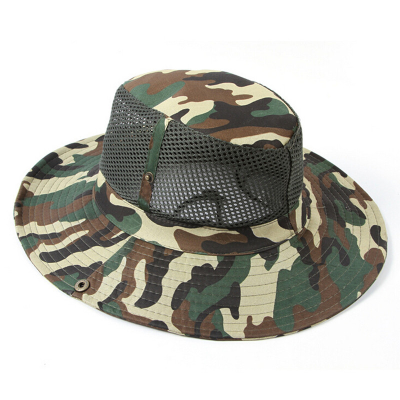 914a7c498 8 Colors Military Camouflage Bucket Hats Camo Fisherman Hats Camping  Hunting Hat sunshade hat For women men