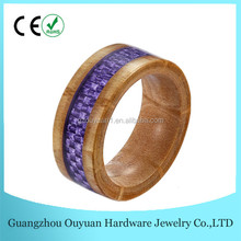 8MM High Polished Couple Romantic Wedding Band Jewelry Mens Wooden Ring Blank With Purple Plastic Camouflage