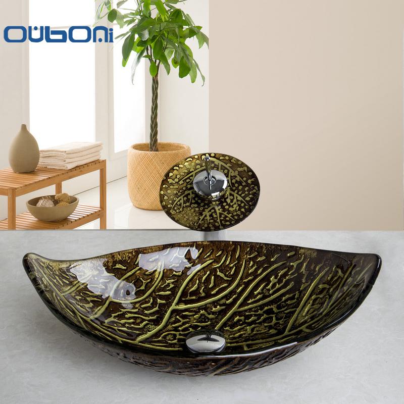 ouboni retro estilo tazn de vidrio bao fregadero hoja arte lavabo con grifo de la cascada de vidrio templado lavabo del cuarto