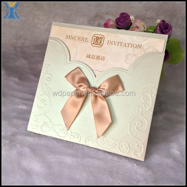 2015 Yiwu Latest Fancy High Quality Mini Multiple Light colors Cheap Wedding Invitations Cards Design With a Bow