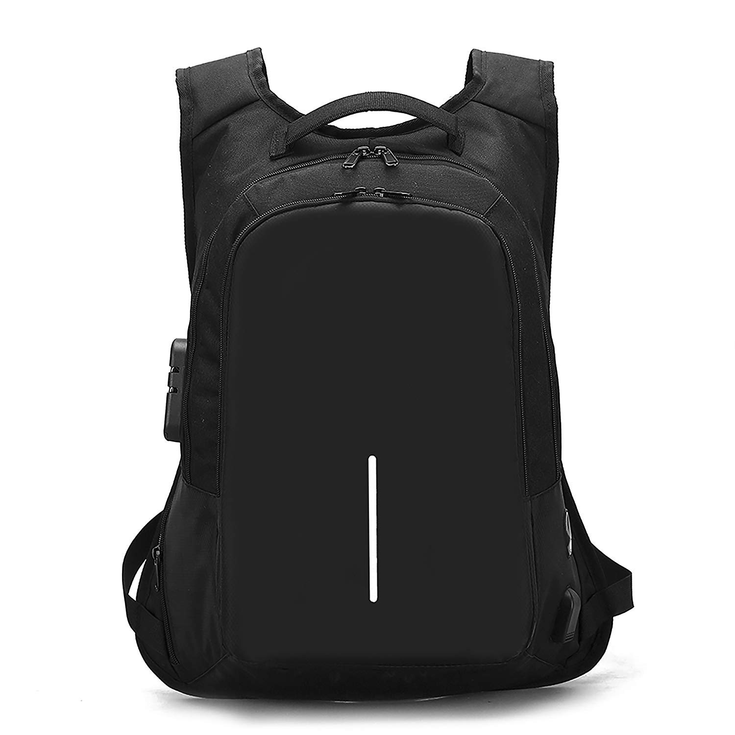 Anti-Theft Smart Travel Backpack with USB Charging Port & Headphone Hole Business Rucksack College Student Casual Daypack for Men Women (JSS11_Black)