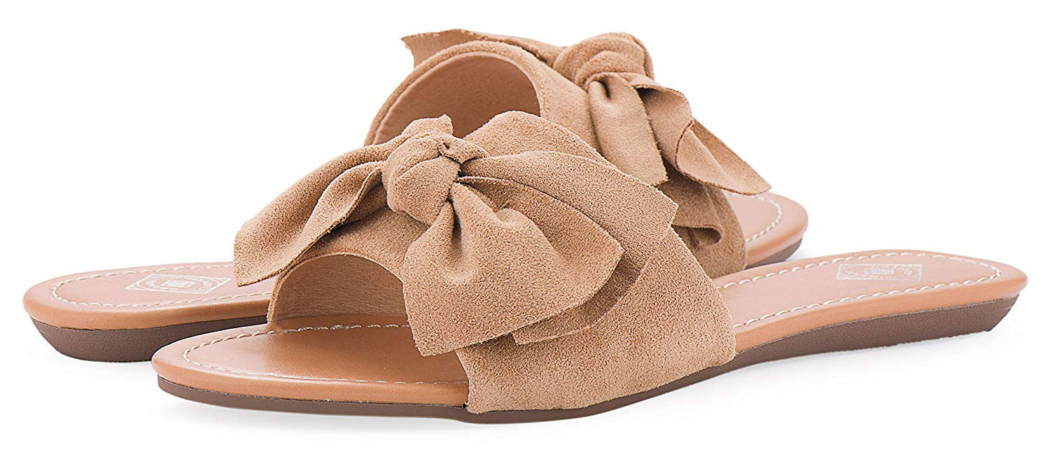 best website 76b32 1cd76 Get Quotations · Gallery Seven Womens Slides, Super Cozy Suede Bow Slide  Sandals For Women In A Gift