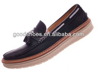 Fancy genuine leather men casual shoes with lace decoration