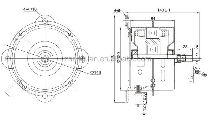 iron housing indoor air conditioner fan motor
