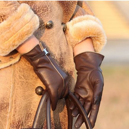 Ladies fashion woven leather grown sheep leather gloves