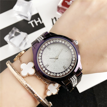Richports Purple minimalist dial diamond stainless steel luxury wristwatch women Quartz Female Wristwatch