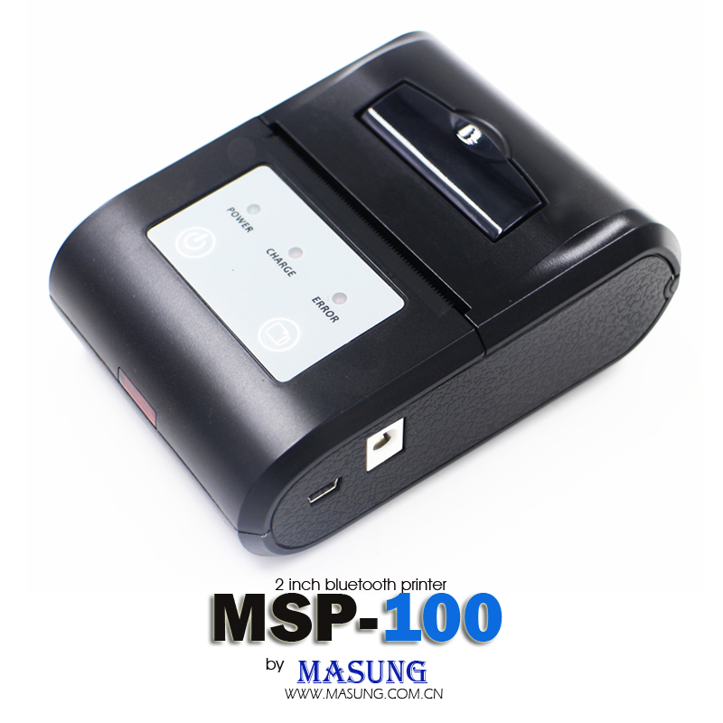 Direct thermal 58mm receipt pocket sized bluetooth printer with battery