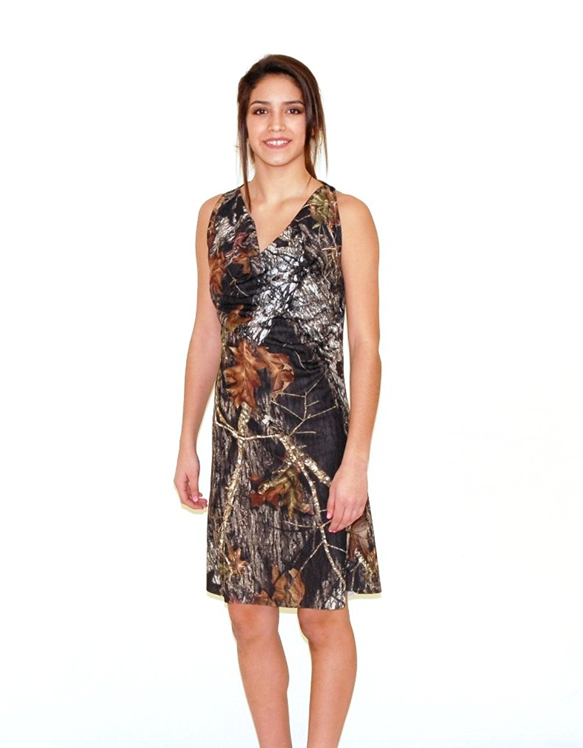 0286a2be37b Get Quotations · Camo Diva CALLIE Camo Prom Dress Short Cowel Neck Camo  Dress
