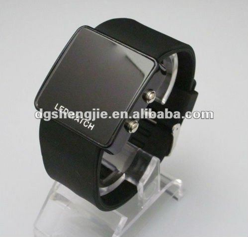 2012 TOP Hot Cool silicone sports digital led mens black watch