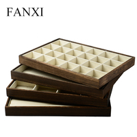 FANXI Custom Logo Jewellery display TraysFor Ring Necklace Bangle Bracelet Holder With Linen Insert Stackable Wood jewelry Tray