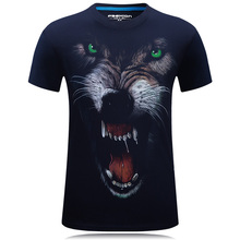 Summer Tops S~6XL Big Size Cotton Tees 3D Animal Wolf Print T shirt