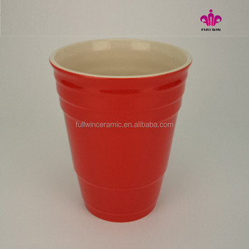 32 OZ Ceramic Red Solo Cups Wholesale without handle ,ceramic red party cups without handle