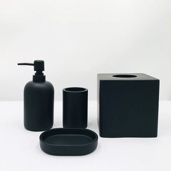 European Luxury New Modern Concrete Cement Black Bathroom Accessories