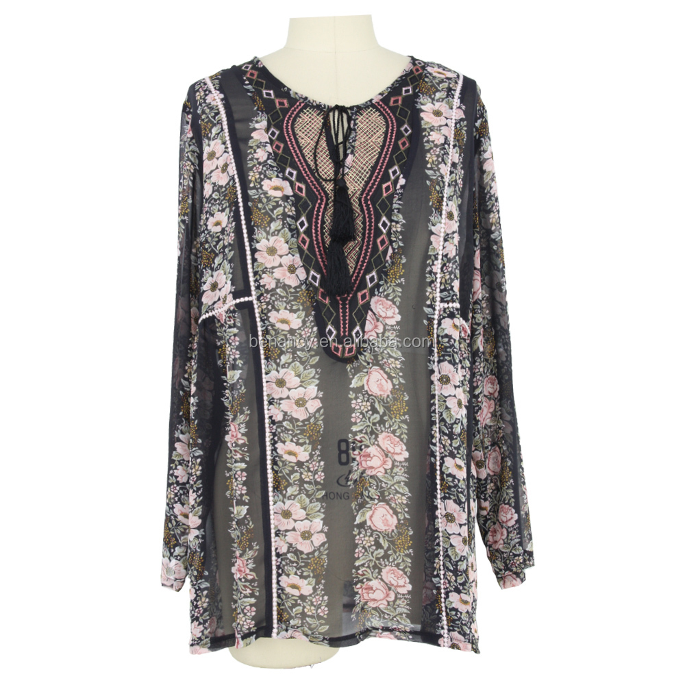 New design Floral Embroidered tie front V neck Ethnic blouse