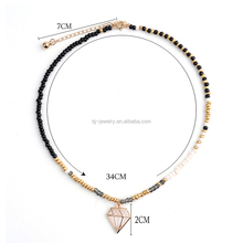 Bojiu New Design Handmade Plastic Crystal Crystal Seed Bead Copper Brass Pendant Choker Necklace