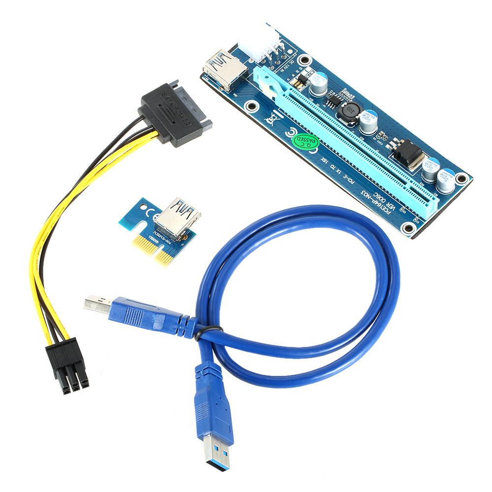 PCI-E PCI <strong>Express</strong> Extender Riser Card 1x To 16x PCIE Mining Card USB 3.0 Power Adapter for BitCoin BTC Miner Machine