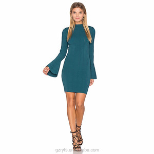 Fashion design flare sleeve mock neck fitted tight sweater dress for women