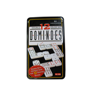 Double 12 colorful plastic domino in tin box