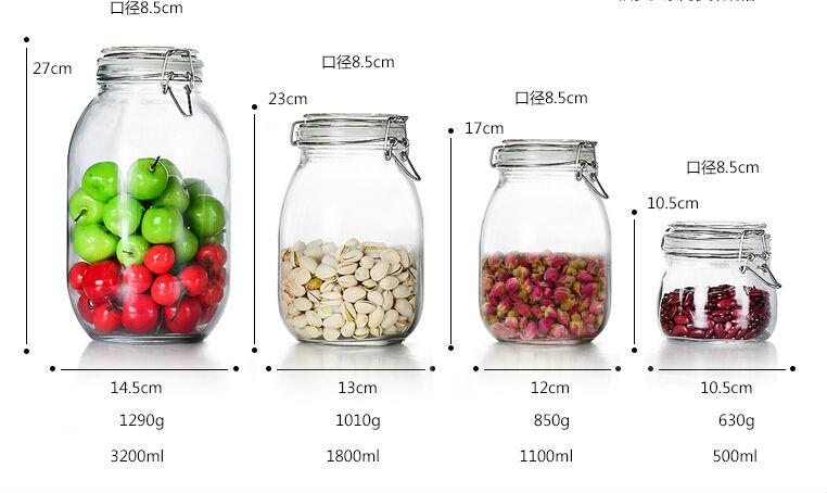 different size mason jar food jar airtight glass jars. Black Bedroom Furniture Sets. Home Design Ideas
