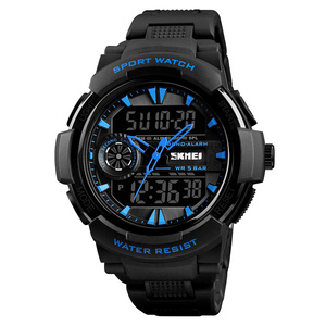SKMEI 1320 analog digital watches for men stainless steel back multifunction watch 2 time zone watch
