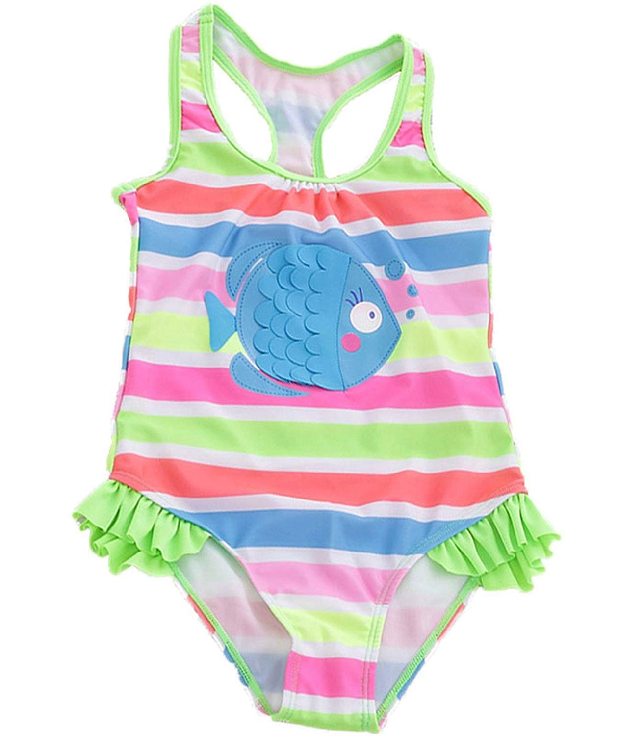 bb293602019 Get Quotations · Little Kids Girls One Pieces Swimwear Candy Color Cartoon  Fish Swimsuit Bathing Suits