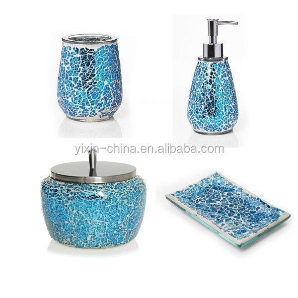 Mosaic purple glass bathroom accessories set view for Bathroom accessories glass